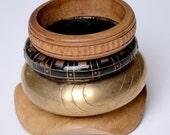 bangle, chunky, bracelet, wood, brass, distressed, aged, bangle stack, gypsy, earthy, ethnic, boho, hippy: Renegade Icon Designs