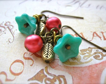 Earrings. Berry Sweet Cluster Earrings. Aqua and Pink Floral earrings with Brass Leaf, Turquoise Flower and Berry Pink Pearl Charms.