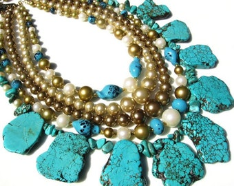 Turquoise vintage Japan painted glass beads faux pearls handmade necklace with earrings