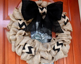 "Burlap Wreath, Front Door Wreath, Large Burlap Wreath, Black and Jute, Chevron Ribbon, approximately 22"""