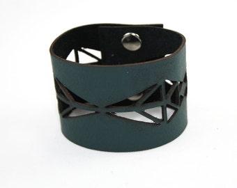 Leather Cuff Bracelet - Geometric Cutout Pattern (Dark Green) - Size Medium