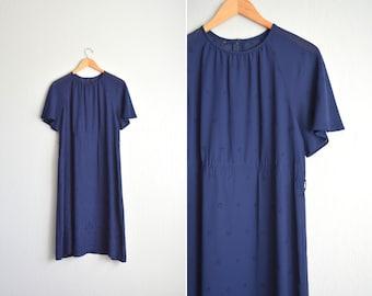 vintage WITCHY navy blue SHEER EYELET midi dress. size l.