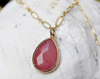 Dusty rose faceted glass teardrop gold necklace - 22k gold plated sterling silver fancy chain - pink synthetic jade - free shipping USA
