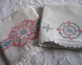 Vintage Shabby Chic Embroidered Pillowcases Set of 2