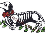 Modern Cross Stitch Kit 'Day of the Dead Dachshund' By Illustrated Ink - Dog Needle Craft Pattern with DMC Materials