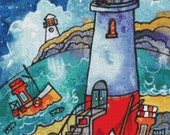 Cross Stitch Kit Licensed Art By Dorian Spencer Davies Art- Lighthouse Night - DMC Materials - GeckoRouge