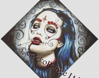 Cross stitch kit by Shayne of the Dead 'Sugar Skull Angelina Jolie decapitated - Revolution'