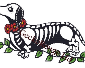 Modern Cross Stitch Kit, 'Day of the Dead Dachshund' By Illustrated Ink, Dog Needle Craft Pattern with DMC Materials