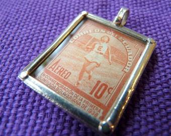 Vintage Stamp Pendant with Sterling Frame-Ecuador