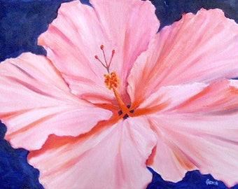 Pink Hibiscus, 18x24 Original Oil Painting on Canvas Panel, Tropical Flower, Floral Daily Painting