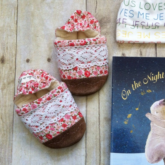 Soft Soled Baby Shoes - Floral and Lace