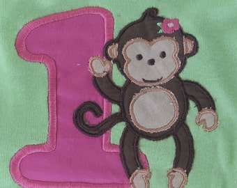 Applique number one or two with girl or boy monkey