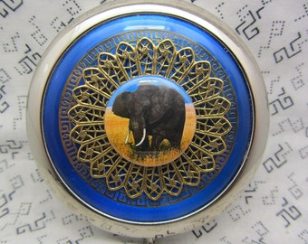 Animal pocket mirror with protective pouch - compact mirror gift - blue pocket mirror - compact mirror gift for brides- maids - hostess gift
