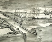 1878 English Antique Engraving of the Newhaven (UK) Harbor Extension