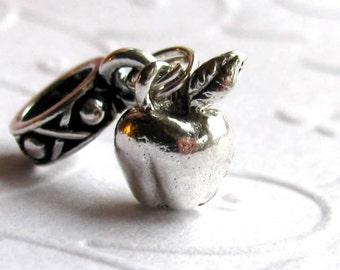 Big hole bead bracelet charm, silver pewter apple charm, teacher gift, dangle charm, European large hole bead, back to school, Garden Eden