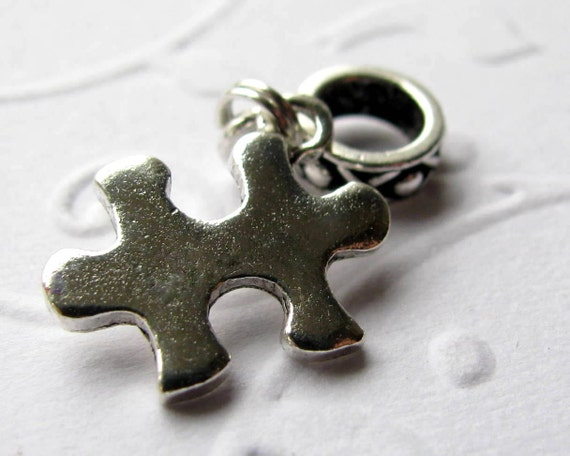 Big hole bead bracelet charm, puzzle piece charm, silver pewter, autism awareness charm, European large hole bead, special ed teacher gift