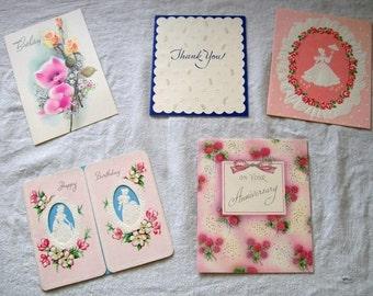 Vintage Greeting Cards, Variety Lot,  Paper Ephemera