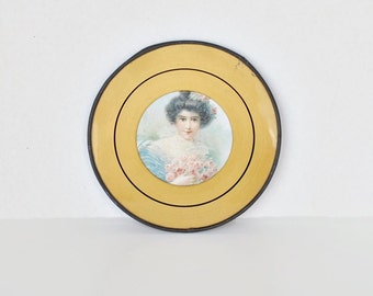 Victorian Lady Flue Cover - Blue Dress - Gold and Metal Frame