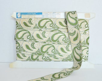Olive Green, Cream and Silver Paisley Fabric Trim - 8 yds. - Authentic Vintage Evening Wear Trim