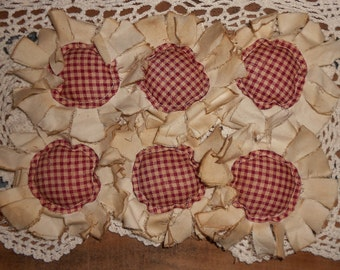 Primitive Grungy Fabric Flowers Ornies Bowl Fillers Set of 6