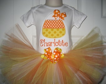 Halloween Candy Corn Fall monogrammed tutu set