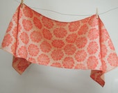 water lily folk art floral botanical hand block printed bright coral on peach melba linen home decor table runner