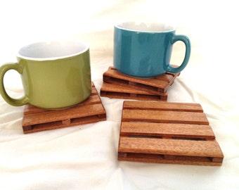 4 Beverage Pallet Drink Coasters - Natural reclaimed African Mahogany wood - exotic wood drink coasters