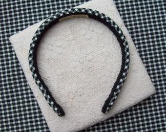 Gingham Plaid Headband black and white