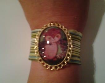 owl cameo satin bracelet