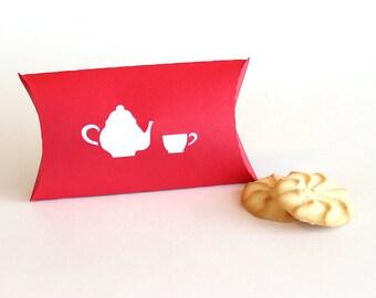 Tea Party Pillow Favor Box Set of 25, bridal shower, tea party favor, favor box, wedding favor box