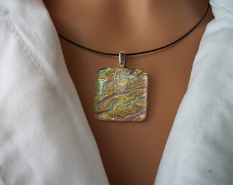 Dichroic Fused Art Glass Pendant in Gold Green and Blue DGP1321C - By Dune Glass  with FREE Shipping in the USA