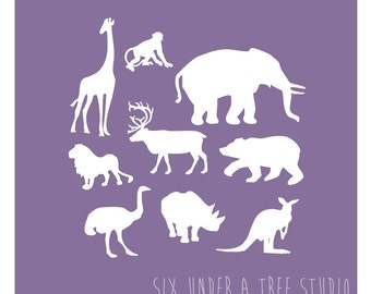 Wild Animals Wall Vinyl Decals Art Graphics Stickers