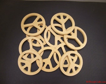 10 Unpainted 6'' Peace Signs Made from 1/2'' MDF. 1-12 A