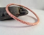 Copper Bangle - Copper Bracelet - Willow Texture - Handmade - Hand Forged