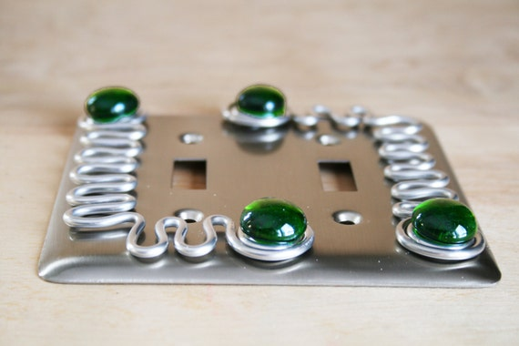 double switch plate brushed nickel green fused by funktini. Black Bedroom Furniture Sets. Home Design Ideas