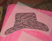 Cowgirl Hat Rhinestones & Nail Head Sequins Transfer for your Diy Home Project