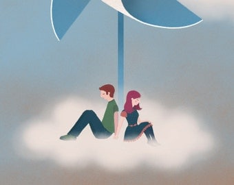 Windmill romantic girl boy couple illustration children home decor whimsical - Windmill Print 8 x 11.5