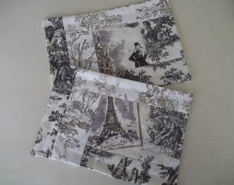 Toile Placemat ~ Snack Mat Set of 2 Toile de Jouy ~ French Country ~ Paris Street Market