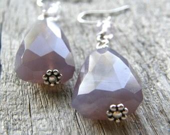 Purple Chalcedony Earrings, Amethyst Gemstone Earrings, Nugget Earrings