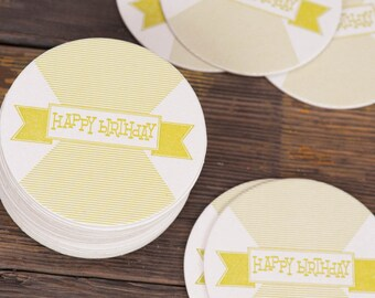 Happy Birthday Letterpress Coasters  - Party Biodegradable Green Eco