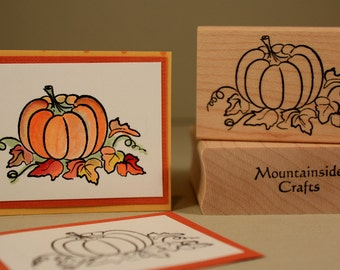 AUTUMN PUMPKIN Rubber Stamp~Fall and Autumn Decorating Stamp~ wood mounted rubber stamp (20-23)
