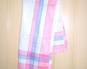 SOUL KITCHEN Linen Tablecloth / Pink / 52 Inch Square / Pastels /  Shabby Chic / Striped Border / Rustic / Cottage / Vintage Textile