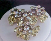 DeLizza and Elster : Massive JULIANA  Aurora Borealis & Amber Colored Rhinestones Brooch
