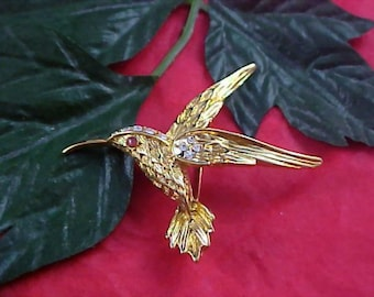 Whimsical HUMMINGBIRD - Diamante - Honey Amber R/S & Gold Plate Brooch