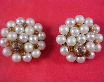 Simulated Pearls Gilt gold Bead - Amber Crystals JAPAN 1940's Clip Earrings