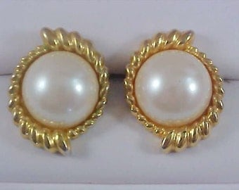 Signed Simulated GLASS PEARL - Gold Plate Post Earrings