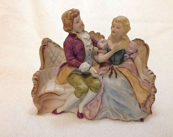 VICTORIAN ~  Courting Couple~Victorian Couch Porcelain Bisque~Music Box ~ LARA'S THEME