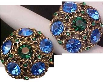 REDUCED~1930's FABULOUS Very Old Montana Blue & Emerald Green Rhinestone Clip Earrings