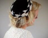 1950s Tilt Hat Black and White Leaves Elegant Velvet