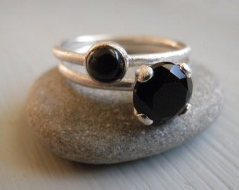 Engagement Black Rings Set, Stacking Rings, Vintage Inspired Classic Genuine Onyx Rings, Sterling Silver Rings, Statement Rings
